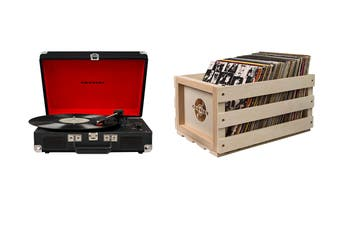 Crosley Cruiser Deluxe Portable Turntable - Black + Free Record Storage Crate (CR8005D-BK)
