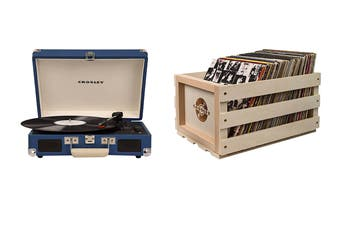 Crosley Cruiser Deluxe Portable Turntable - Blue + Free Record Storage Crate (CR8005D-BL)