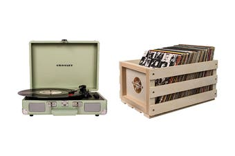 Crosley Cruiser Deluxe Portable Turntable - Mint + Free Record Storage Crate (CR8005D-MT)