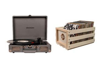Crosley Cruiser Deluxe Portable Turntable - Slate + Free Record Storage Crate (CR8005D-SG4)
