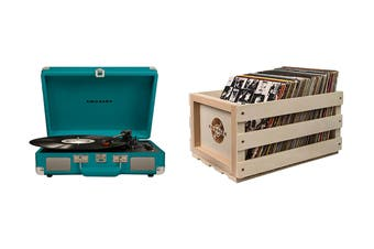 Crosley Cruiser Deluxe Portable Turntable - Teal + Free Record Storage Crate (CR8005D-TL)