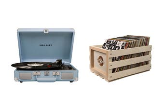 Crosley Cruiser Deluxe Portable Turntable - Tourmaline + Free Record Storage Crate (CR8005D-TN4)