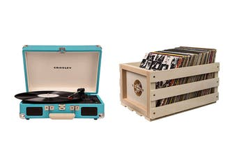 Crosley Cruiser Deluxe Portable Turntable - Turquoise + Free Record Storage Crate (CR8005D-TU)