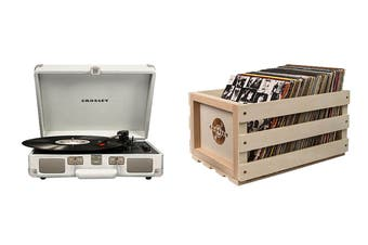 Crosley Cruiser Deluxe Portable Turntable - White Sand + Free Record Storage Crate (CR8005D-WS)