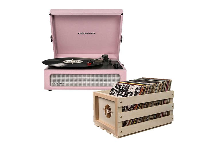 Crosley Voyager Portable Turntable - Amethyst + Free Record Storage Crate (CR8017A-AM4)