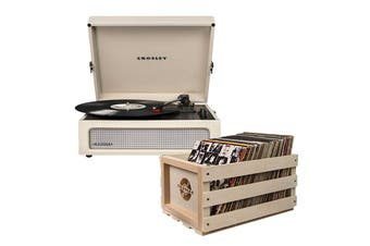 Crosley Voyager Portable Turntable - Dune + Free Record Storage Crate (CR8017A-DU4)