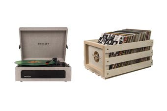 Crosley Voyager Portable Turntable (Grey) and Record Storage Crate