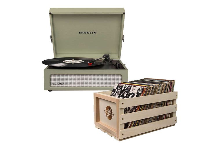 Crosley Voyager Portable Turntable - Sage + Free Record Storage Crate (CR8017A-SA4)