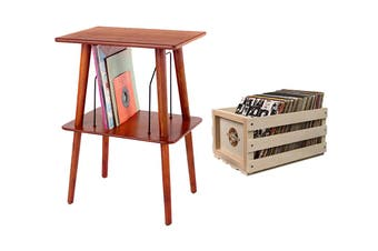 Crosley Record Storage Crate & Manchester Entertainment Center Stand Bundle (CRAC1004A-B2)