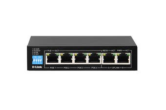 D-Link 6-Port 10/100Mbps PoE Switch with 4 Long Reach PoE Ports and 2 Uplink Ports