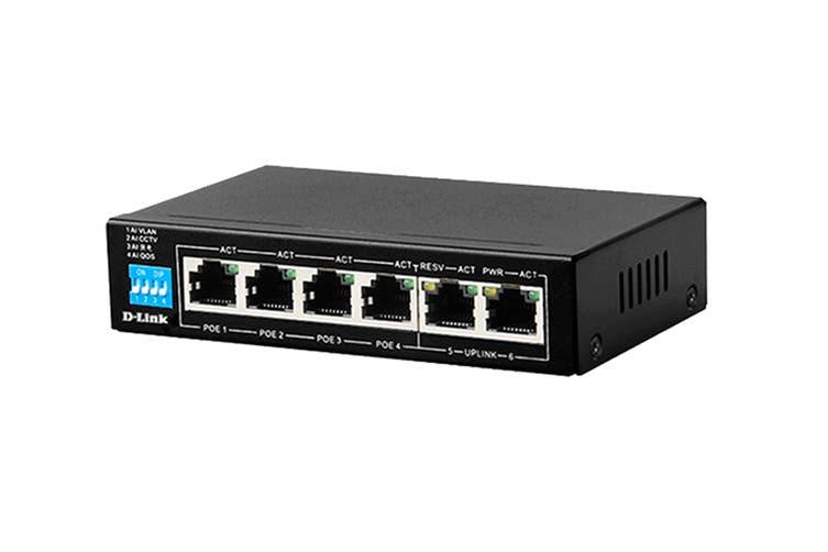 D-Link 6-Port 10/100Mbps PoE Switch with 4 Long Reach PoE Ports and 2 Uplink Ports (DES-F1006P-E)