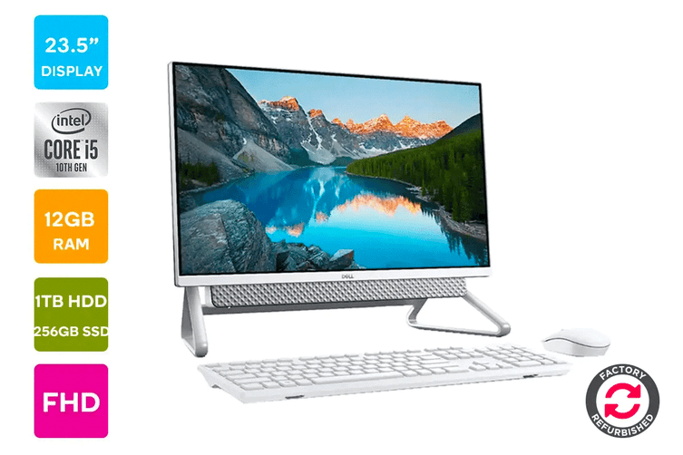"Dell Inspiron 5490 23.5"" FHD Windows 10 Touchscreen All-in-One AIO Desktop (i5-10210U, 12GB RAM, 1TB HDD, 256GB SSD, White) - Certified Refurbished"