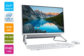 "Dell Inspiron 5490 23.5"" FHD Windows 10 Touchscreen All-in-One AIO Desktop (i5-10210U, 12GB RAM, 1TB HDD, 256GB SSD, White)"