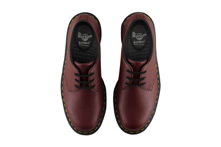 Dr. Martens 1461 Slip Resistant Leather Low Top Shoe (Cherry Red Industrial Full Grain, Size 10 UK)