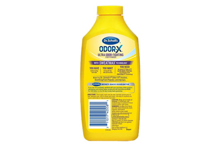 Dr. Scholl's Unisex Odor-X Ultra Sweat-Absorbing Foot Powder (Clear, One Size)