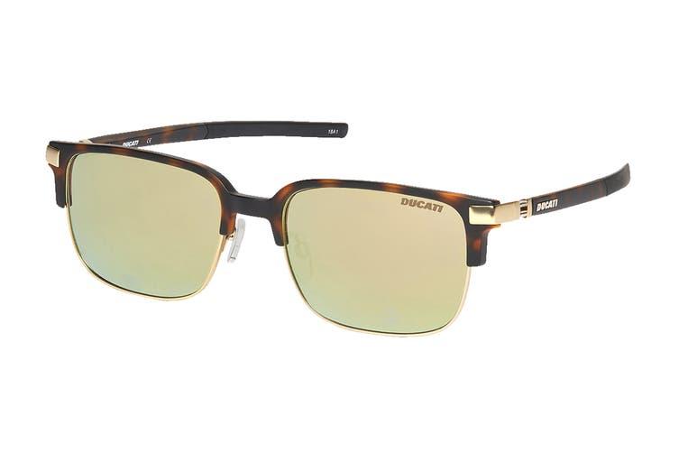 Ducati 5004 Sunglasses (Tortoise, Size 56-18-145) - Brown Flash Gold