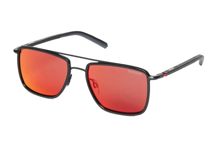 Ducati 7002 Sunglasses (Black, Size 56-18-145) - Grey/Flash Red Bi-Gradient
