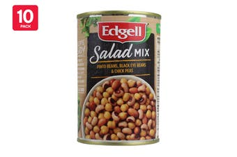 Edgell 400G Salad Mix Beans (Pinto Beans, Black Eyed Beans & Chickpeas) (10 Pack)