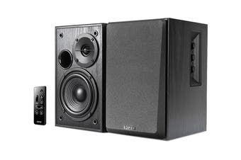 Edifier 2.0 42W Lifestyle Active Bookshelf Bluetooth Studio Speakers Black with Bluetooth, AUX & Dual Mic (R1580MB)
