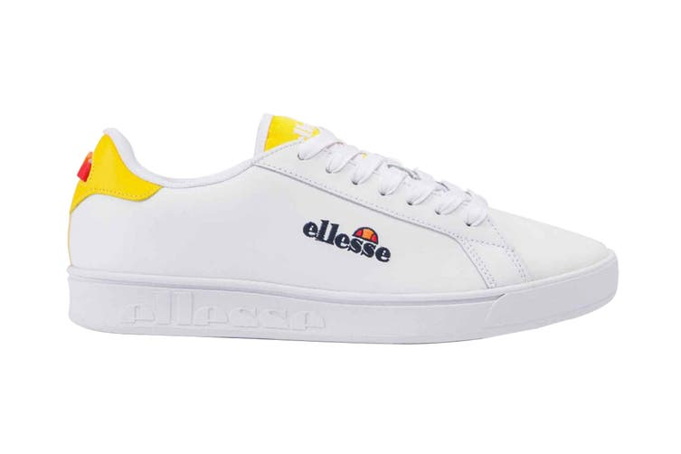 Ellesse Women's Campo Emb Leather AF Shoe (White/Cyber Yellow, Size 5 US)