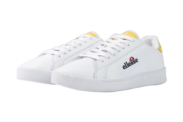 Ellesse Women's Campo Emb Leather AF Shoe (White/Cyber Yellow, Size 7 US)