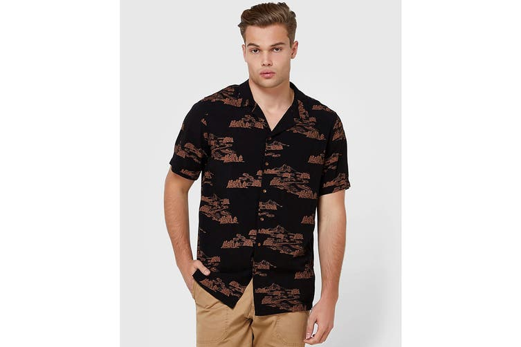 Elwood Men's Mountain Resort Shirt (Vintage Black, Size XXL)