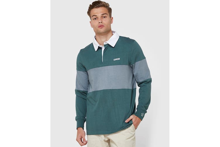 Elwood Men's Holiday Rugby Jersey (Antique Green, Size S)