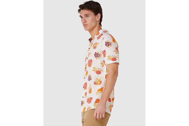 Elwood Men's Fruit Resort Shirt (Off White, Size XXL)