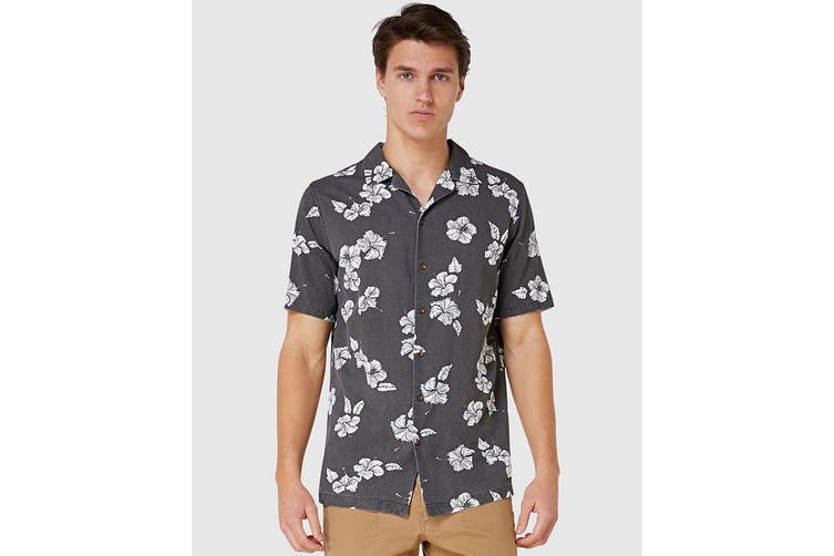 Elwood Men's Hibiscus Resort Shirt (Black, Size M)