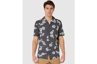 Elwood Men's Hibiscus Resort Shirt (Black)