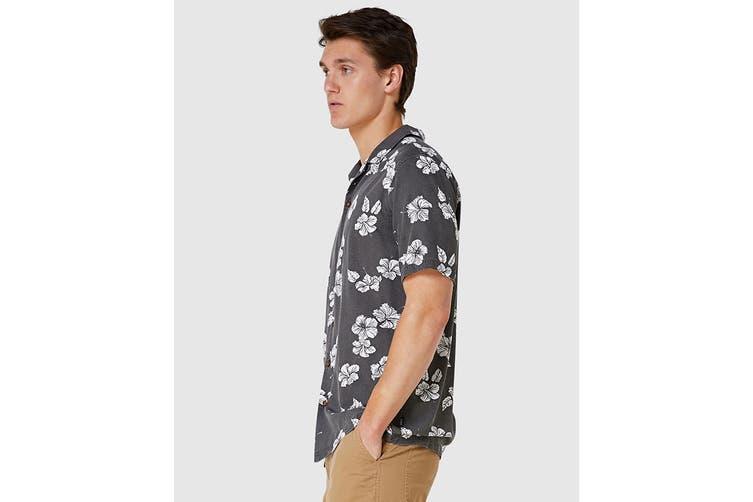 Elwood Men's Hibiscus Resort Shirt (Black, Size S)