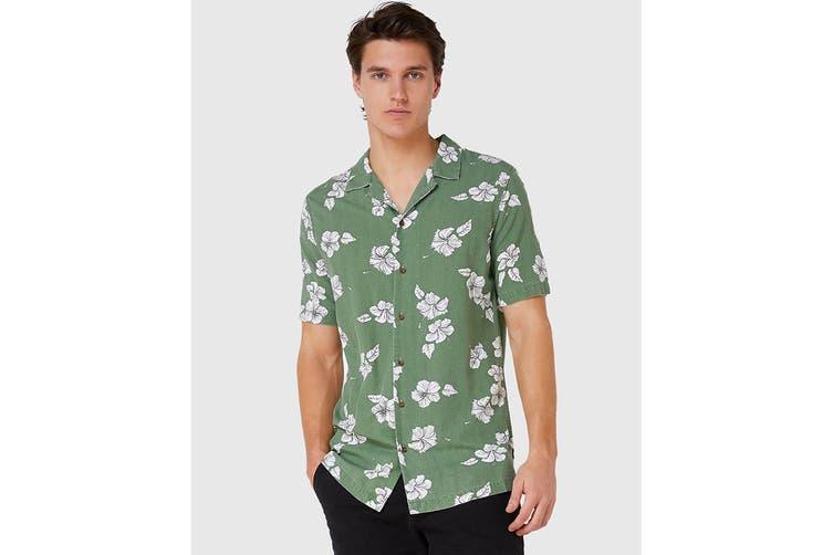 Elwood Men's Hibiscus Resort Shirt (Khaki, Size M)