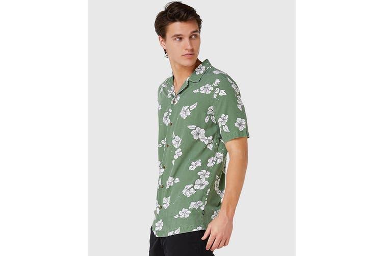 Elwood Men's Hibiscus Resort Shirt (Khaki, Size S)