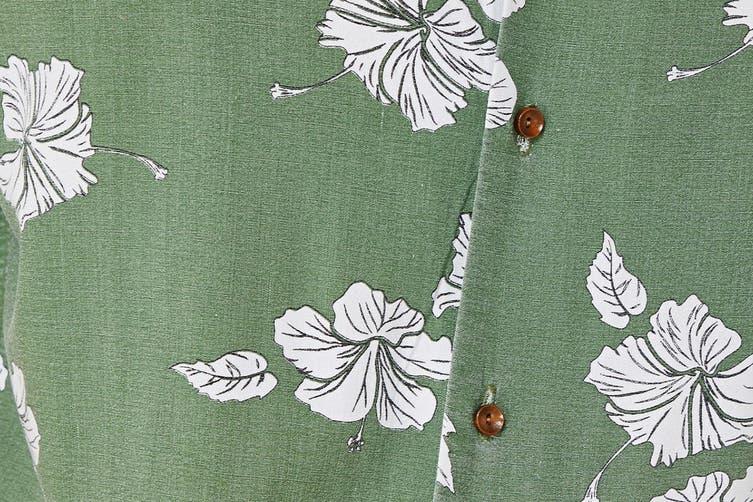 Elwood Men's Hibiscus Resort Shirt (Khaki, Size XXL)