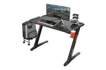 Eureka Ergonomic Z1-S Gaming Desk with Blue LED Lights, Controller Stand, Cup Holder & Headphone Hook - Black