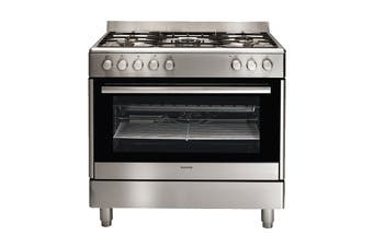 Euromaid 90cm Dual Fuel Upright Freestanding Cooktop & Oven - Silver (GE90S)