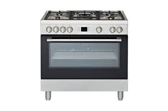 Euromaid 90cm Dual Fuel Upright Freestanding Cooktop & Oven - Silver (PS90S)