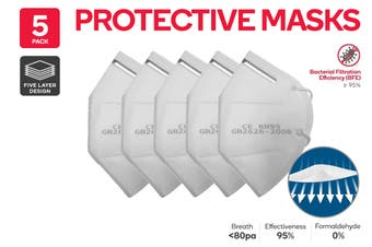 5 Pack 5-Ply KN95 Waterproof Respirator Protection Face Mask