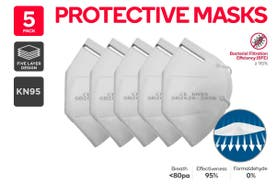 5 Pack KN95 5-Ply Waterproof Respirator Protection Face Mask