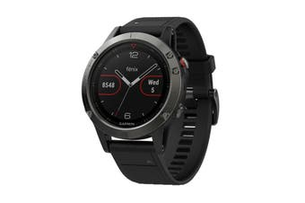 Garmin Fenix 5 Sports Watch with Black Band (Slate Grey)