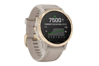 Garmin Fenix 6S Pro Solar (Light Gold with Light Sand Band)