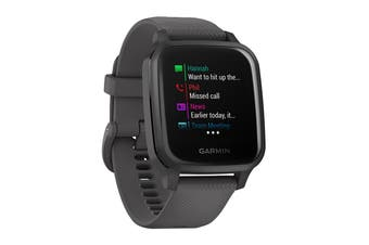 Garmin Venu Sq (Slate Aluminium Bezel with Shadow Grey Case and Silicone Band)
