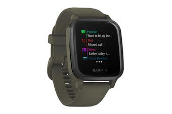 Garmin Venu Sq Music (Slate Aluminium Bezel with Moss Case and Silicone Band)
