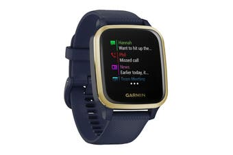 Garmin Venu Sq Music (Light Gold Aluminium Bezel with Navy Case and Silicone Band)