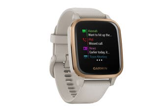 Garmin Venu Sq Music (Rose Gold Aluminium Bezel with Light Sand Case and Silicone Band)