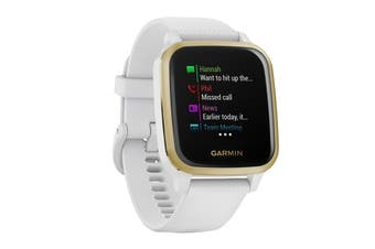 Garmin Venu Sq (Light Gold Aluminium Bezel with White Case and Silicone Band)