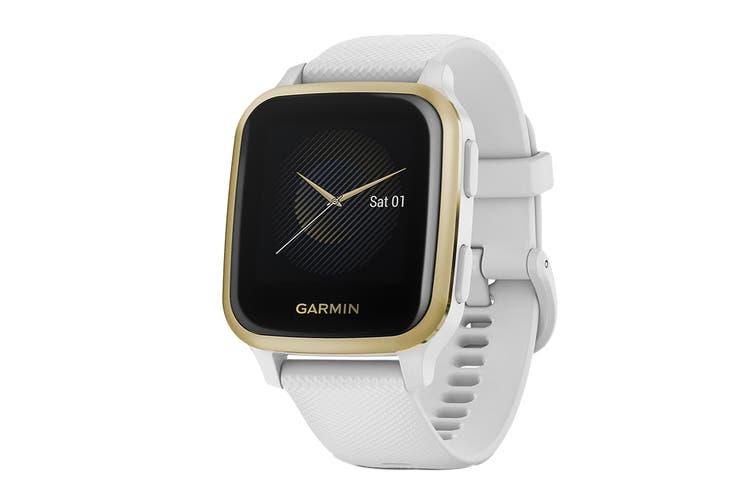 Garmin Venu Sq (Light Gold Aluminium Bezel with White Case and Silicone Band)