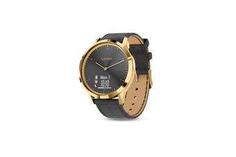Garmin Vivomove HR Premium (24K Gold Stainless Steel Case with Black Italian Leather Band)