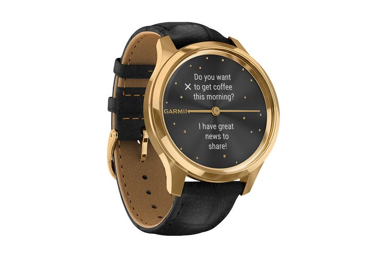 Garmin Vivomove Luxe (24K Gold PVD Stainless Steel Case with Black Embossed Italian Leather Band)