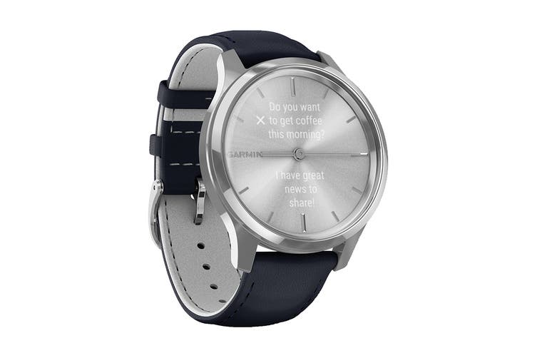 Garmin Vivomove Luxe (Silver Stainless Steel Case with Navy Italian Leather Band)